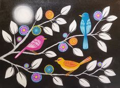 Learn to paint simple whimsical folk art birds on black and white branches. Chalkboard acrylic painting lesson by Angela Anderson. Purple flowers and folk ar...