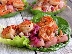 Lettuce Wraps with Shrimp and Coleslaw