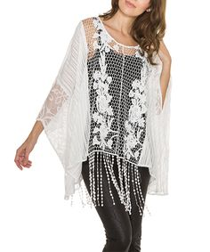 This White Sheer Lace Fringe Tunic by Adore is perfect! #zulilyfinds