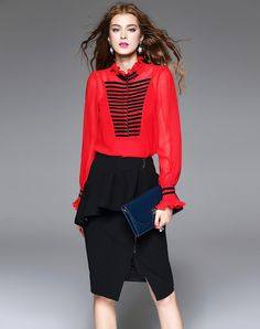 #AdoreWe #VIPme Blouses & Shirts - mojaser Red Stripes Ruffled Bodysuit Blouse - AdoreWe.com