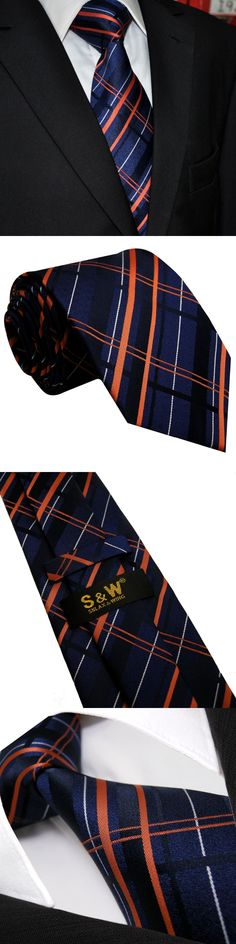 "U4 Navy Checkes Mens Ties Matching Hanky Silk Handmade Wedding Fashion Classic Brand New Dress Men's Extra Long Size 63"" Necktie"