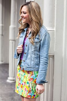 jean jacket with a floral skirt // J.Crew