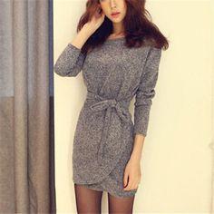 """Ucuz en moda 2015 sıcak seksi kadın elbiseleri bodycon elbise uzun kollu ince örgü mini elbise tunik kış avrupa tarzı, Satın Kalite elbiseler doğrudan Çin Tedarikçilerden:  boyutusmlxlxxlomuz38cm( 15"""")39cm( 15.4"""")40cm( 15.7"""")41cm( 16.1"""")43cm( 16.9"""")büstü110cm( 43.3"""")115cm( 45.3"""")120cm("""