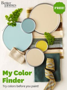 Try new color schemes before you paint with My Color Finder! Try it here: http://www.bhg.com/decorating/color-finder/?socsrc=bhgpin051112