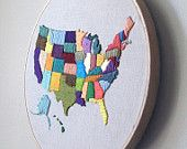 Hand embroidered Map of USA | 25+ map and globe projects
