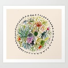 Succulents+Mandala+Art+Print+by+Hannah+Margaret+Illustrations+-+$17.00