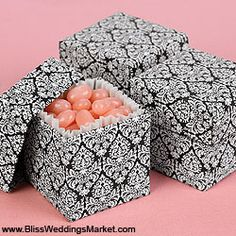 Black and white damask favor boxes