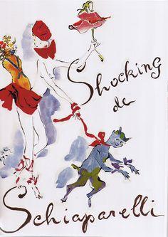 Marcel Vertes - Schiaparelli - fashion illustration - Laurel Schaffer - downright red
