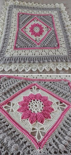 Charlotte Square Free Crochet Pattern This version uses Charlotte Square in the. Charlotte Square Free Crochet Pattern This version uses Charlotte Square in the middle, as the bas Crochet Blocks, Granny Square Crochet Pattern, Afghan Crochet Patterns, Crochet Squares, Loom Patterns, Granny Squares, Sewing Patterns, Stitch Crochet, Crochet Stitches