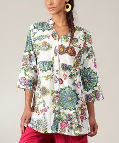 Look at this Aller Simplement White & Blue Floral Button-Up Top on #zulily today!