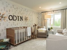 A Nursery Works Novella Convertible Crib sits on light gray rug under black wall. A Nursery Works Grey Nursery Boy, Nursery Neutral, Nursery Room, Themed Nursery, Child's Room, Themed Rooms, Nursery Decor, Celebrity Nurseries, Nursery Works