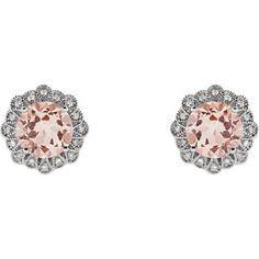 14kt White Morganite & 1/8 CTW Diamond Earrings