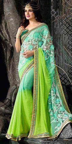 Creepy Blue And Green Chiffon Saree.