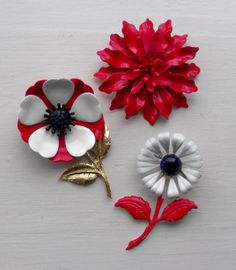 Three vintage enameled flower pins in red by oodles on Etsy, $24.75