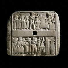 Sumerian stele depiciting worshippers making offerings C2600BC Ur, hometown of the Patriarch Abraham