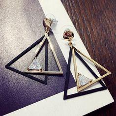 Cut Out Overlap Triangle Rhinestone Earrings - GOLDEN