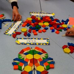 Symmetry with different types of shapes the student are learning about in geometry!
