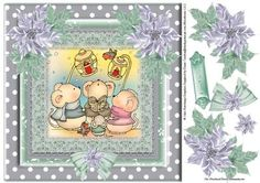 Christmouse Choir Quick topper  on Craftsuprint designed by Julie Hutchings - lovely quick topper of the choir of mice with some decoupage and sentiment tag Happy Christmas - Now available for download!