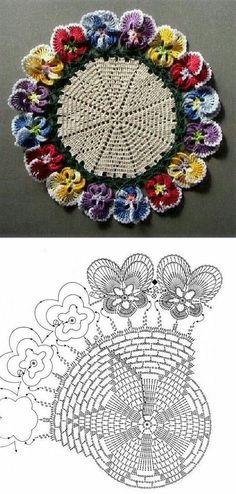 Crochet Doily with chart - Salvabrani Crochet Stitches Patterns, Doily Patterns, Thread Crochet, Crochet Designs, Knitting Patterns, Crochet Diagram, Crochet Chart, Crochet Motif, Crochet Lace