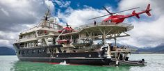 Heli skiing from a yacht in Patagonia - a Chilean summer ski adventure! Fishing Holidays, Power Boats For Sale, Best Ski Resorts, Deck Boat, Merchant Navy, Adventure Of The Seas, Yacht Interior, In Patagonia, Cool Boats