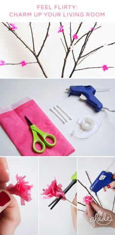Create a flirty wink for every corner of your home with this crafty DIY project and the scent of Glade Blooming Peony & Cherry. Arrange fallen branches and add blossoms using tissue paper, scissors and a hot glue gun to style up your apartment decor in the sweetest way.
