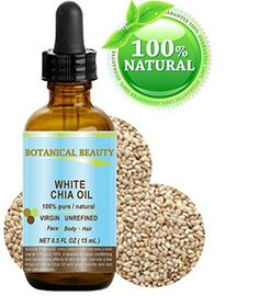"""WHITE CHIA OIL. 100% Pure/ Natural Cold Pressed Carrier Oil. 0.5 fl.oz-15 ml. For Skin, Hair, Lip and Nail Care. """"A remarkable and stable source of omega-3, 6 & 9, B-vitamins and minerals""""., http://www.amazon.com/dp/B019APA1FO/ref=cm_sw_r_pi_s_awdm_IwuGxbZ1YM405"""