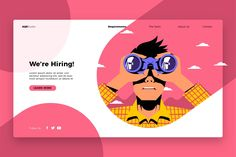 recruitment poster design are hiring - Banner amp; Landing Page by AQR Studio on creativemarket Graphic Design Posters, Graphic Design Illustration, Info Graphic Design, Hiring Poster, Webdesign Layouts, Banner Design Inspiration, Creative Banners, Website Illustration, Landing Page Design