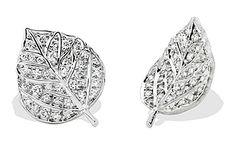 Aaron Henry: Diamonds Paved Aspen Leaf Earrings    18k White Gold