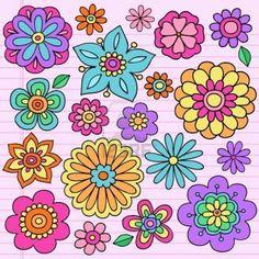 Flower Power Groovy Psychedelic Hand Drawn Notebook Doodle Design Elements Set on Lined Sketchbook Paper Background- Vector Illustration Poster Cute Flower Drawing, Flower Art, Flower Drawings, Drawing Flowers, Doodle Drawings, Doodle Art, Flower Power 60s, Notebook Doodles, Bordado Floral