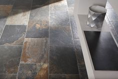 "Tile Association Award Winner: ""Natural Slate"" available online from Atlas Ceramics Slate Flooring, Basement Flooring, Vinyl Flooring, Kitchen Flooring, Flooring Ideas, Julie's Kitchen, Kitchen Ideas, Slate Tiles, Linoleum Flooring"