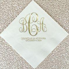 personalized wedding vine monogram napkins bordered monogram party napkins custom napkins. Black Bedroom Furniture Sets. Home Design Ideas
