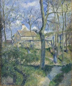 Camille Pissarro (Fr, - Sentiero verso Les Pouilleux, Pontoise (The Path to Les Pouilleux, Pontoise) - 1881 - Oil on canvas cm. 56 x 47 - Los Angeles County Museum of Art, CA Paul Cezanne, Renoir, George Seurat, Camille Pissarro Paintings, Pissaro Paintings, French Impressionist Painters, Gustave Courbet, Painting Gallery, European Paintings