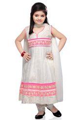 White Cotton Readymade Anarkali Churidar Kameez