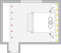 Nestes quartos, os pontos de luz garantem conforto.