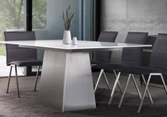 Scuptura Table by Trica Metal and Etched Glass  Available at MYHome Furniture Ottawa
