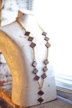 60s Mod Wood & Gold Tone Super Long Necklace by SkeletonKeyVintage, $20.00