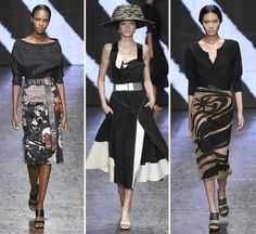 """New York: For Spring Donna Karan wrote in her show notes – she wanted to """"paint the town with urban chic."""" As a result, she presented a. Urban Chic, Donna Karan, Spring 2015, Love Fashion, Catwalk, High Waisted Skirt, Dress Up, Two Piece Skirt Set, Style Inspiration"""
