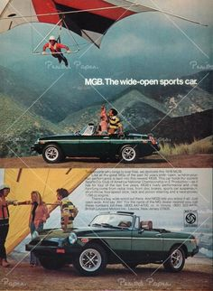 I had a '72 MGB back in '82. It was a fun car! It looked just like this one in this Vintage MGB Car Advertisement but mine had a wider white stripe.
