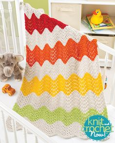 Free Ripple Stripe Blanket Knit Pattern Download -- Designed by KCN Design Team. Featured in Season 5, episode 504, of Knit and Crochet Now! TV. Download here: https://www.anniescatalog.com/knitandcrochetnow/patterns/detail.html?pattern_id=18