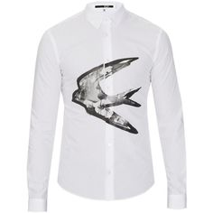 McQ Alexander Mcqueen Swallow-print cotton-poplin shirt ($163) ❤ liked on Polyvore featuring men's fashion, men's clothing, men's shirts, men's casual shirts, men, white, mens slim shirts, mens white shirts, mens print shirts and mens tailored shirts