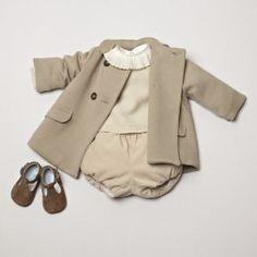 Classic baby coat. Cream jumper and velvet bloomers. Soft shoes. pepaandcompany