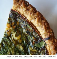 Goat Cheese, Leek and Spinach Quiche- This recipe uses a store-bought pie shell to add the crust and still manages to keep the calories to a reasonable amount per serving.