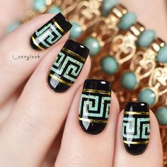 Turquoise Greek Inspired Nail Art