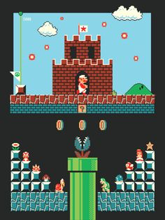 Cool Art: 'Super Mario Bros: Level One' by Harlan Elam William Higinbotham developed an Super Mario Bros, Super Mario Brothers, Retro Video Games, Video Game Art, Retro Games, Mundo Dos Games, 8bit Art, Classic Video, Game Background