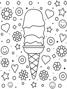 Cupcake Coloring Pages, Ice Cream Coloring Pages, Cute Coloring Pages, Coloring Pages To Print, Printable Coloring Pages, Coloring Sheets, Coloring Books, Kids Coloring, Ice Cream Pictures