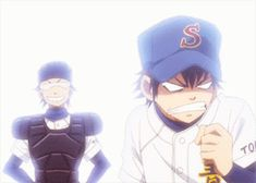mygifs pffft ;gifs ace of diamond diamond no ace sawamura eijun miyuki kazuya ;dnaworks STORY WHAT? yes it usually involves miyuki trolling sawamura all the time sometimes i make lame stuffs fufufufuf miyuki boy