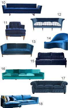 Get the Look: 34 Blue Velvet Sofas - StyleCarrot| style carrot |