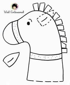 """Képtalálat a következőre: """"sv. martin na bílém koni pracovní list"""" Felt Patterns, Stuffed Toys Patterns, Craft Patterns, Horse Party, Cowgirl Party, Horse Crafts, Animal Crafts, Cowboy Crafts, Wild West Crafts"""