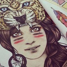 Rik Lee @rikleeillustration Wolf Girl sold ou...Instagram photo   Websta (Webstagram)
