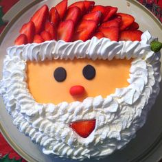 Strawberry Santa Cake--could do the same face on a pancake